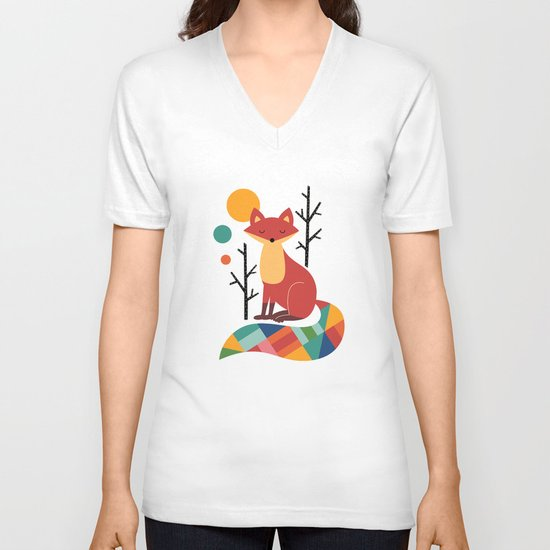 Rainbow Fox V-neck T-shirt