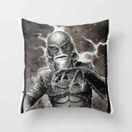 Throw Pillow featuring Creature From The Black … by CHRIS MASON