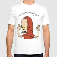 Are you threatening me? Mens Fitted Tee White SMALL