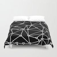 Abstract Heart Zoom Black Duvet Cover