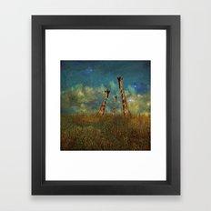 Family of giraffes Framed Art Print