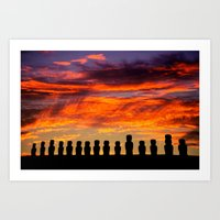 EASTER ISLAND SUNRISE Art Print