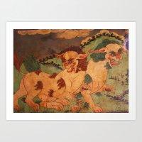 Tibetan Snow Lions Art Print
