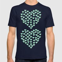 Hearts Heart x2 Mint Mens Fitted Tee Navy SMALL