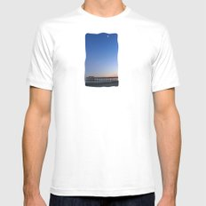 Moon over Tybee Island Pier Mens Fitted Tee White SMALL