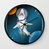 Shark In Space Wall Clock