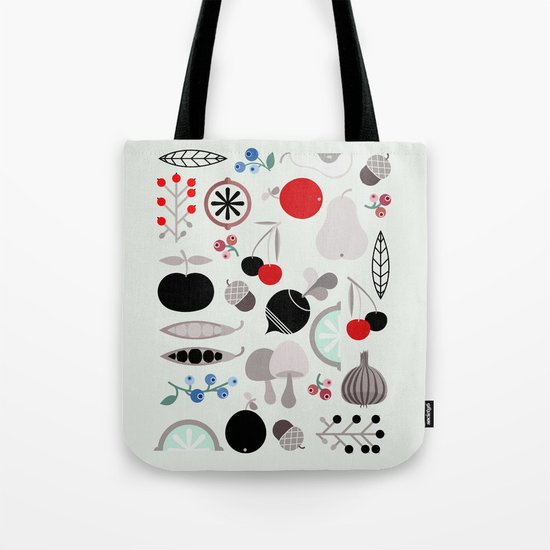 Mushroom Berries Nuts and Fruits / Classic 50s pattern Tote Bag