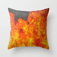 Fire On Pixel (watercolo… Throw Pillow