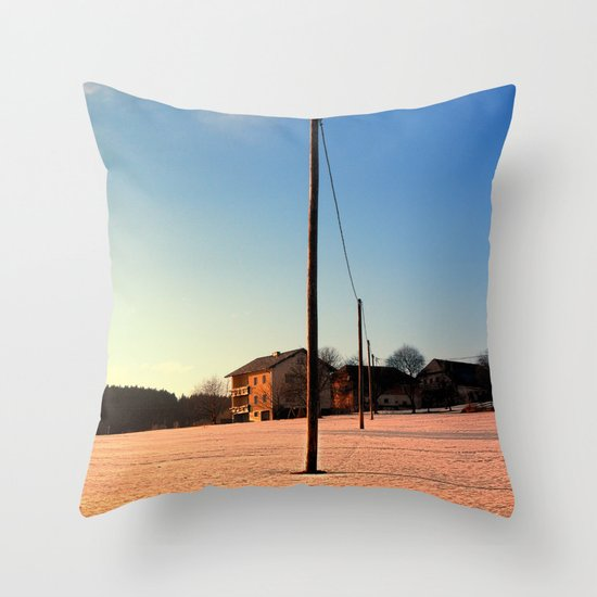 Powerline, sundown and winter wonderland | landscape photography Throw Pillow