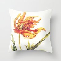V. Vintage Flowers Botanical Print by Anna Maria Sibylla Merian - Parrot Tulip Throw Pillow