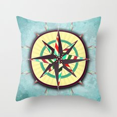Striped Compass Rose Throw Pillow