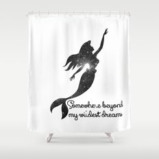 The Little Mermaid Cosmic Black and White Wildest Dreams Shower Curtain