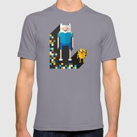 finn the pixel Mens Fitted Tee Slate SMALL