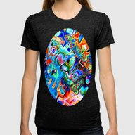 Pattern Sunnyday  Womens Fitted Tee Tri-Black SMALL