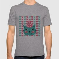 Cat Party hat Mens Fitted Tee Athletic Grey SMALL