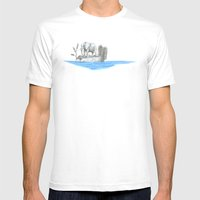 ELEPHANT IN AN ISLAND Mens Fitted Tee White SMALL