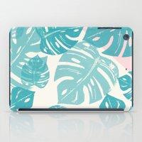 Linocut Monstera Rosy iPad Case