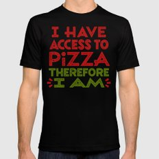 Pizza Ergo Sum SMALL Mens Fitted Tee Black