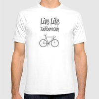 Live Life Deliberately Mens Fitted Tee White SMALL