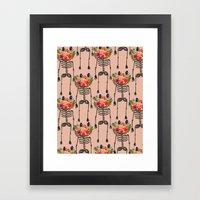 Skeleton And Flowers. Framed Art Print