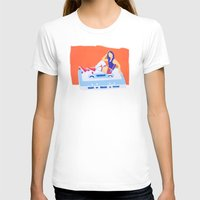 80's Girl Roller Skater  - Music Tape Womens Fitted Tee White SMALL