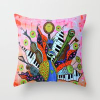 FEATHERED FANFARE Throw Pillow