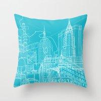 New York! Blueprint Throw Pillow