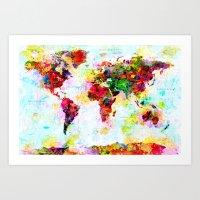 Abstract World Splatter Map Art Print