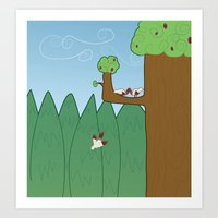 Birds and Trees Art Print