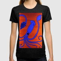 Leopold the Squid Womens Fitted Tee Tri-Black SMALL