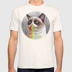 Cat Tastes the Grumpy Rainbow | Watercolor Painting Mens Fitted Tee Natural SMALL