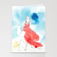 Christmas Girl In The Sn… Stationery Cards