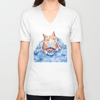V-neck T-shirt featuring Happy Cat Drinking Hot Chocolate by Goosi