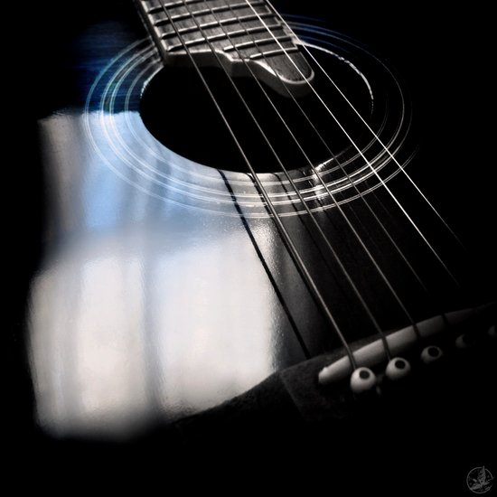 Blue Tone Guitar Instrument Photo Art Print