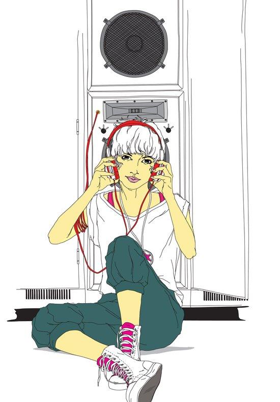 stereo-girl Art Print