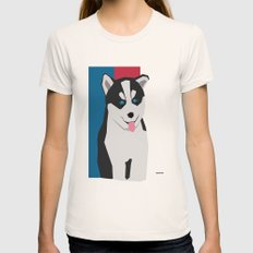 Siberian Husky Womens Fitted Tee Natural SMALL