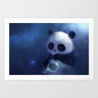panda Art Prints featuring Panda by apofiss