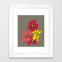 Grey Flowers Framed Art Print