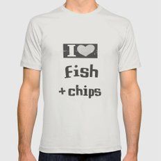 I ♥ Fish And Chips - Dark Gray Mens Fitted Tee Silver SMALL