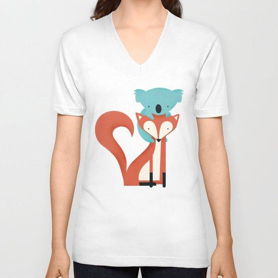 Fox & Koala V-neck T-shirt