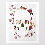 Skull Grunge Flower 2 Art Print