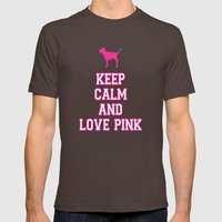 Keep Calm and Love PINK Mens Fitted Tee Brown SMALL