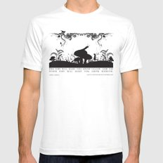 Alice's Adventures In Wonderland Black and White Illustrated Quote White Mens Fitted Tee SMALL