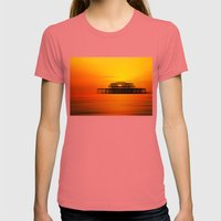 Brighton West Pier At Su… Womens Fitted Tee Pomegranate SMALL