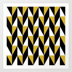 Mustard & black triangle mid-century pattern Art Print