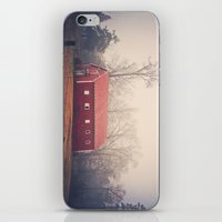 Little Red Barn in the Fog iPhone & iPod Skin