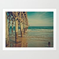 Fishing Pier Surf City B… Art Print