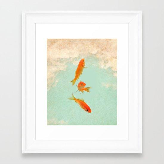 Goldfish in the sky Framed Art Print