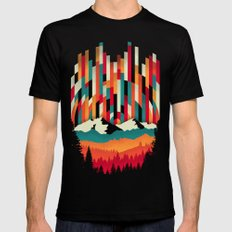 Sunset in Vertical Multicolor SMALL Black Mens Fitted Tee
