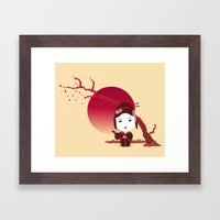 CHERRY BLOSSOM GEISHA Framed Art Print